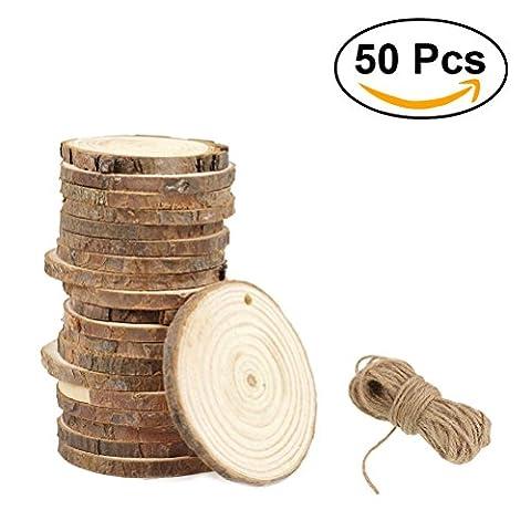 ULTNICE Holz Log Scheiben Runde Log Discs Unfertige vorgebohrte Holzstücke DIY Craft 3-4CM mit Jute Twine Pack von 50