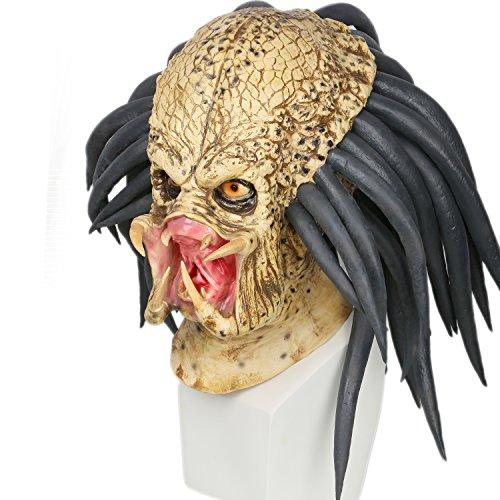 Cosplay 1:1 Replica Latex Geruchlos Maske Halloween Verrücktes Kleid für Erwachsene (Predator Hunter Kostüm)