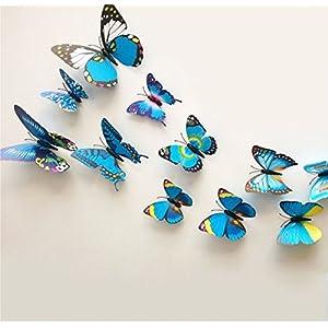 ZOOYOO Confezione di adesivi da parete a forma di farfalla, in 3D, 12 pezzi, colore: blu