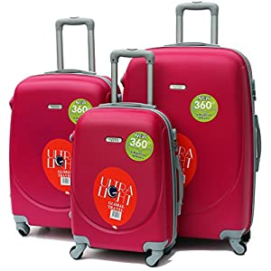 Luggage Set Of 3 Hard Shell ABS Plastic Suitcase Carry On Hand 4 Wheeled Trolley (Pink)