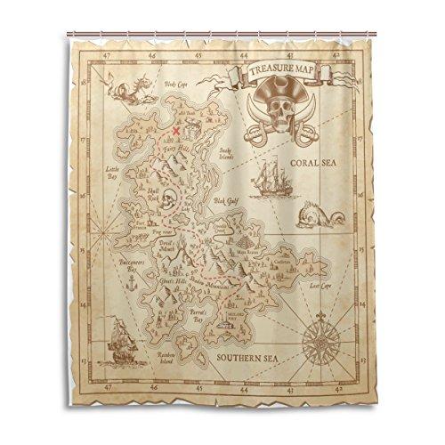 Bad Vorhang für die Dusche 152,4x 182,9cm Vintage Antik Piraten Adventure Schatzkarte Kompass...