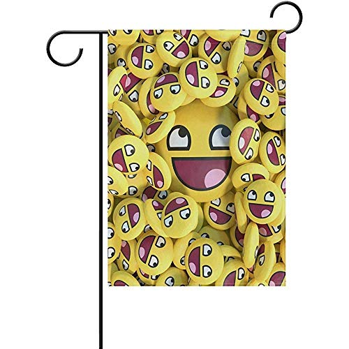 HujuTM Stylish Happy Funny Smiling Emoji Polyester Garden Flag House Banner 12 x 18 inch, Two Sided Welcome Yard Decoration Flag for Wedding Party Home Decor