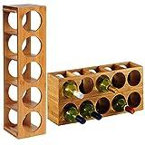 WOLTU Bambus Weinregal Weinflaschenregal für 5 Flaschen Wein Stapelbar