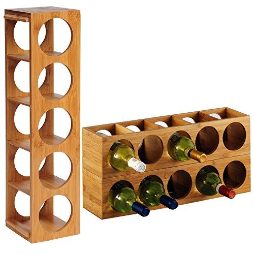 Botellero de bambú Apilable. 5 Botellas