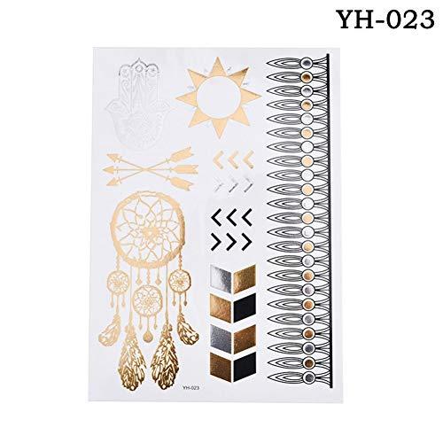 GHHCG 1 Stücke Blume Taty Design Tattoo Aufkleber Flash Metallic Wasserdicht Temporäre Tätowierung Gold Silber Tatoo Frauen, N23
