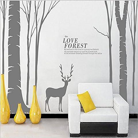 Y & B Cerf et forêt Arbre 3D DIY Stickers muraux, Small