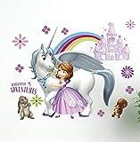 Kibi Wandtattoo Kinderzimmer Prinzessin Sofia Disney Wandsticker Prinzessin Sofia Die Erste Wandaufkleber Kinderzimmer Wandsticker Babyzimmer Dekorative kunst (A)