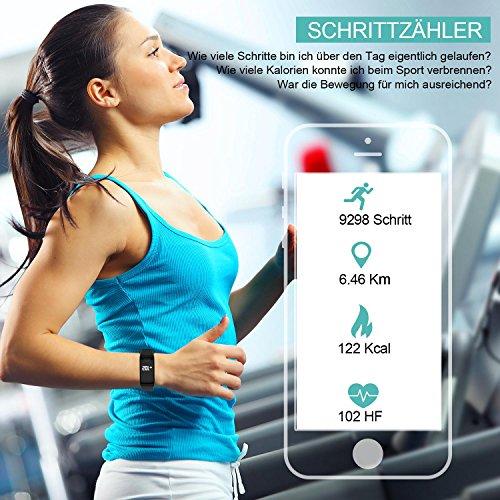 Fitness Armband mit Pulsmesser - AUQIEN F1 - Fitness Tracker 3ATM Wasserdicht Sportuhr, Aktivtätstracker mit Schrittzähler, Kalorienzähler, Schlaftracker, Blutdruckmesser für iOS/Android -
