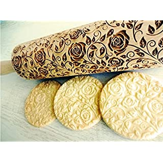 Embossing rolling pin DAMASCUS ROSES flowers. Laser engraved dough roller
