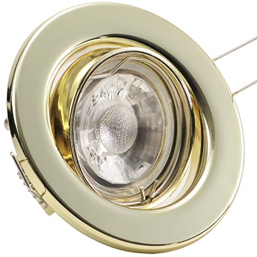 3er Set (3-8er Sets) Einbaustrahler DECORA; 230V; COB LED 3W = 40W; Warm-Weiß; GOLD MESSING; schwenkbar, Leuchtmittel austauschbar; Einbauleuchte Einbauspot Downlight