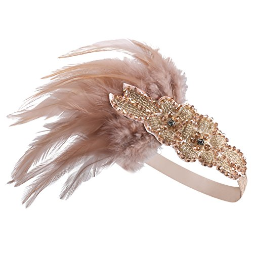 tall Haarband Perlen Stirnband Federn Flapper Stirnband Vintage Stirnband 1920 (Flapper Frauen)