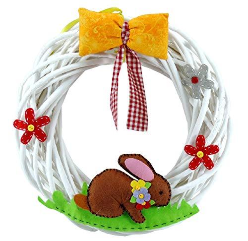 Decorazione di pasqua ghirlanda pasquale fuoriporta in legno coniglio lepre e fiori decorazioni pasquali da appendere per porta