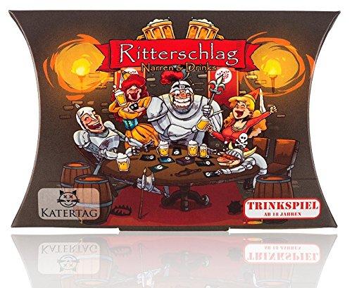Trinkspiel   Ritterschlag - Narren und Drinks, Das kreativste Trinkspiel aller Zeiten, für Erwachsene ab 18 Jahren, lustiges Partyspiel / Katertag Trinkspiele (60 Karten, Schwarz)