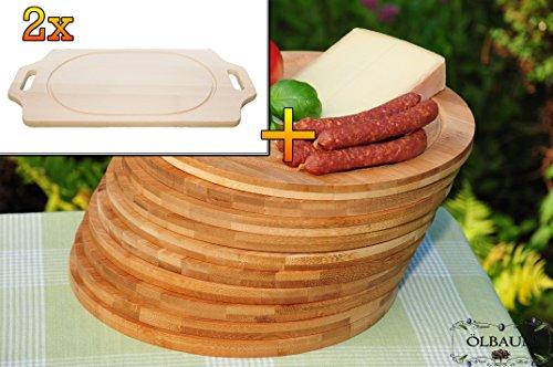 Frühstücks-Servierbrettbrett, Buche, 2 Stück - massive, hochwertige ca. 15 mm starke Picknick Grill-Holzbrett mit zwei Seitengriffen natur mit abgerundeten Kanten, Maße viereckig je ca. 36 cm x 29 cm & 10 mal Schneidebrett - massive, hochwertige ca. 12 mm starke Picknick Grill-Holzbretter mit Rillung natur, dunkles Bambus, Maße rund je ca. 25 cm Durchmesser als Bruschetta-Servierbrett, Brotzeitbrett, Bayerisches Brotzeitbrettl, NEU Massive Schneidebretter, Frühstücksbretter,