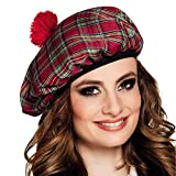 NET TOYS Stylische Schottenmütze mit Bommel - Rot-Grün - Originelle Unisex-Kopfbedeckung Highlander Kappe - Perfekt geeignet für Mottoparty & Fasching