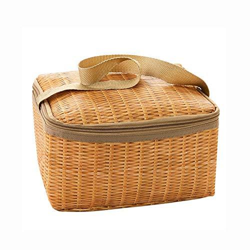 SNKTBWANGCY Outdoor Camping Picknick Tasche Wicker Picknickkorb Fall thermische Mittagessen Aufbewahrungsbox -