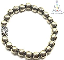 Know Your Crystals 100% Original Pyrite Round Beads Bracelet 8mm with Buddha (Metallic color)
