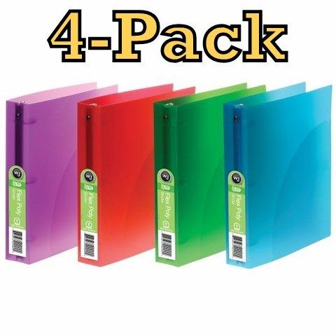 4er Pack Acco Flex Poly Translucent Bindemittel, 2,5cm Kapazität, Brief Größe, rund Ring, extra große Taschen, blau, grün, violett, rot Farbe kann variieren (Flex Bindemittel)