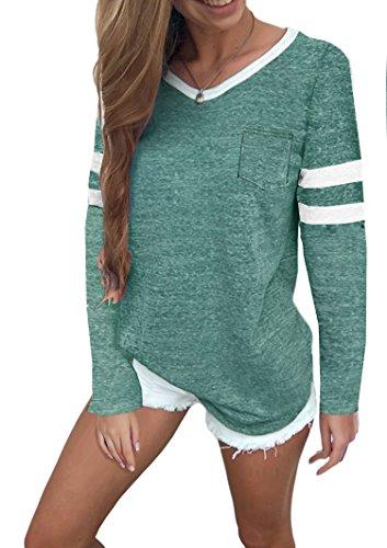 Ehpow Damen Langarmshirt Streifen Langarm T-Shirt Casual Rundhals Tunika Oberteile Tops (Large, Grün)