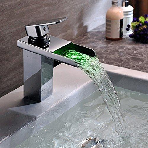 KINSE® Chrom LED RGB Licht Wasserhahn Armatur Spüle Wasserfall Waschtischarmatur Waschbecken mit Schläuche für Bad