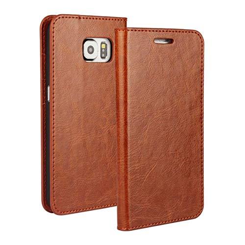 Preisvergleich Produktbild DENDICO Galaxy S6 Hülle,  Premium Flip Leder Brieftasche Handyhülle,  Kartenfach / Standfunktion / Magnetverschluss Wallet Tasche Schutzhülle für Samsung Galaxy S6 - Khaki