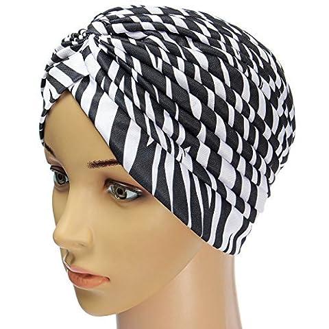 Bonnet Chapeau Turban Plissé Tête Enroulez Indien Foulard Extensible Tissu Femme