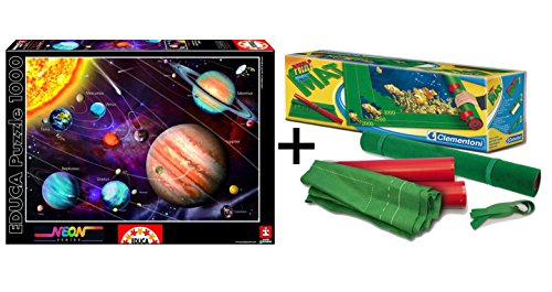 Pack Puzzle Educa 14461. Sistema Solar en Neon (brilla en la oscuridad). 1000 piezas + Tapete universal Puzzle Roll Clementoni 30297