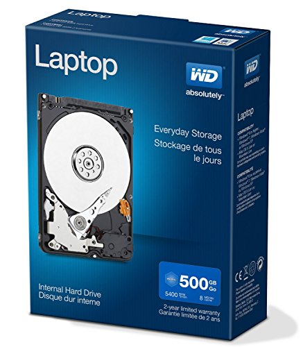 WD Blue 500 GB interne mobile Festplatte (2,5 Zoll), 5400 rpm, 8MB Cache, SATA)  WDBMYH5000ANC-ERSN Retail Kit -