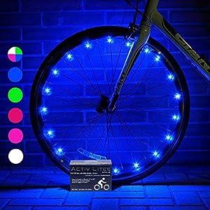 Luces LED Activ Life para Ruedas de bicis (Set de 2 Azul). Regalo navideño o de cumpleaños Ideal para niños de 3+, jóvenes y Adultos. Top Idea Original del 2018 para Padres, Hermanos y tíos.