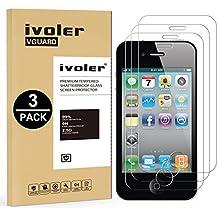 [3 Unidades] iPhone 4 / 4S Protector de Pantalla, iVoler Protector de Pantalla de Vidrio Templado Cristal Protector para iPhone 4 / 4S -Dureza de Grado 9H, Espesor 0,30 mm, 2.5D Round Edge-[Ultra-trasparente] [Anti-golpe] [Ajuste Perfecto] [No hay Burbujas]- Garantía Incondicional de 18 Meses