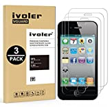 iVoler [3 Stücke] Apple iPhone 4S / iPhone 4 Panzerglas Schutzfolie, 9H Härte, Anti- Kratzer, Bläschenfrei, [2.5D Runde Kante]
