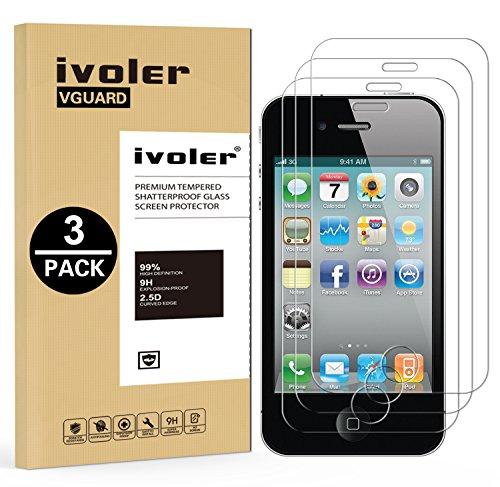 [Lot de 3] iPhone 4 / 4S Protection écran, iVoler Film Protection d'écran en Verre Trempé Glass Screen Protector Vitre Tempered pour iPhone 4 / 4S - Dureté 9H, Ultra-mince 0.30 mm, 2.5D Bords Arrondis- Anti-rayure, Anti-traces de Doigts,Haute-réponse, Haute transparence- Garantie de Remplacement de 18 Mois