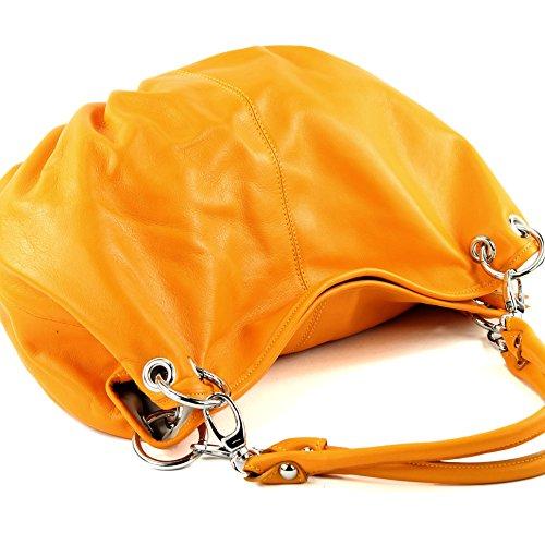 modamoda de - ital. Ledertasche Damenhandtasche Damentasche Schultertasche Nappaleder IT40 Dahliengelb
