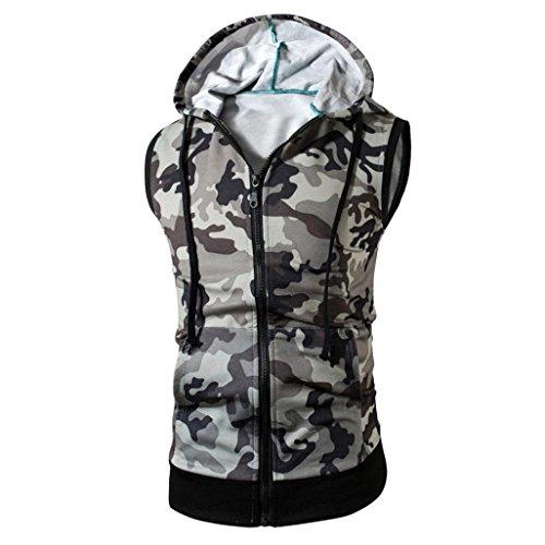 Amlaiworld Sommer-Tarnungs-Kapuzen-Weste-T-Shirt Oberseite für Mann, modernes und kühles Sleeveless T-Shirt (XXXL, Grau)
