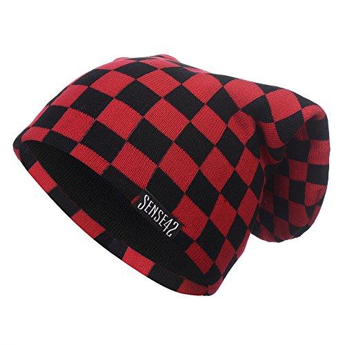 Sense42 | Long Beanie Mütze | Lange Wintermütze für Damen und Herren | Karo | One Size | schwarz, blau, pink, grün, rot - Pink Schwarz Karo