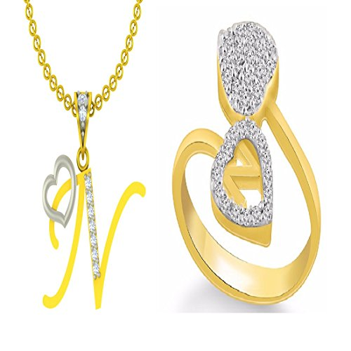 "Kanak Jewels Combo of Initial Letter ""N"" With Heart & ""N"" Ring Yellow Gold Cubic Zirconia Brass Pendant With Ring"