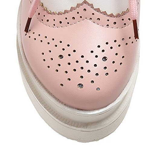 VogueZone009 Femme à Talon Haut Couleurs Mélangées Lacet Rond Chaussures Légeres Rose