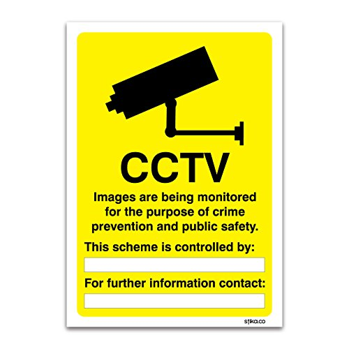 CCTV Überwachung Informationen Schild–Fahrzeug und Räumlichkeiten Signs By Lichtschalter CO, plastik, 210mm x 297mm A4