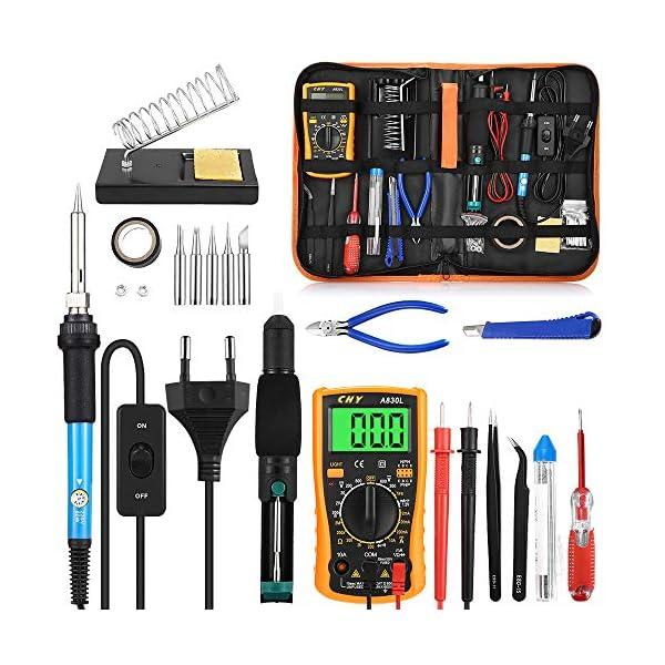 Eléctrico Soldador Kit de Estaño con Caja de Herramienta Temperatura