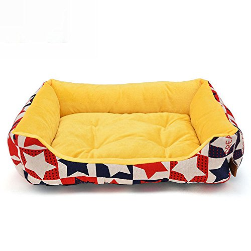 XSQRGG Weiches Luxus Hundebett Mit Hundekorb, Kleine, Mittlere Und Große Hunde, Waschbar, Robust, Größenauswahl, Hochwertige Qualität,Yellow,L