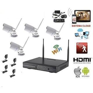 Kabelloses 4-Kanal-DVR-NVR-Videoüberwachungssystem mit 4Überwachungskameras