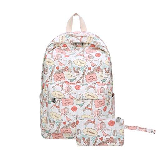 Imagen de yuandian niña primaria & secundaria escuela adolescente lona impresión de dibujos animados carteras colegio  escolar aire libre viajes impermeable bolsa de lápiz gratuita rosa