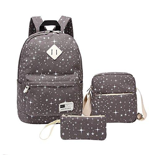 (YipGrace Rucksäcke 3 Taschen Stern-Druck Mädchen & Jungs Rucksack Schultasche+Studenten Messenger Bag+Geldbörse Damentasche Ruckback Grau)