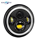 #7: Kingsway Harley Style LED Head Lights with Full Round Ring with Halo Angle Eye Projector for Royal Enfield Classic 350 (7-inch, Hi/Lo Beam)