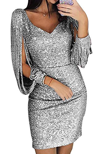 Robe Pull Femme Sexy Grande Taille Femmes Occasionnels O-Neck Solide Perles à Manches Longues Dames en Vrac Mini Robe Robe Pull Femme Sexy Hiver Robe Pull Femme Sexy Col V Argent FR 40