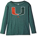 NCAA Miami Hurricanes Womens Her Full Color Primary Logo L/s Crew Teeher Full Color Primary Logo L/s Crew Tee, Gold, Large
