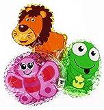 3 Kühlpads Löwe Frosch Schmetterling Wärmepad mehrfach Kompresse Kühlkissen Kinder wärmen kühlen Tiermotiv