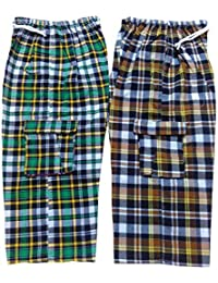 U P Khadi and Handloom Unisex Cotton Check Bermuda with Elastic Waist and Free Bottom Combo (Multicolour, Large) - Pack of 2