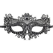 Hosaire 1x Máscara de Encaje Pavo Real Negro,Mujeres Antifaz para Mascarada Veneciano Carnaval Halloween