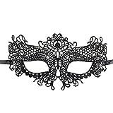 Hosaire 1x Máscara de Encaje Pavo Real Negro,Mujeres Antifaz para Mascarada Veneciano Carnaval Halloween Fiesta de Baile Disfraces Juguetes para Pareja